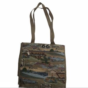 JADE ROUTE 66 Tapestry tote bag - zip compartments
